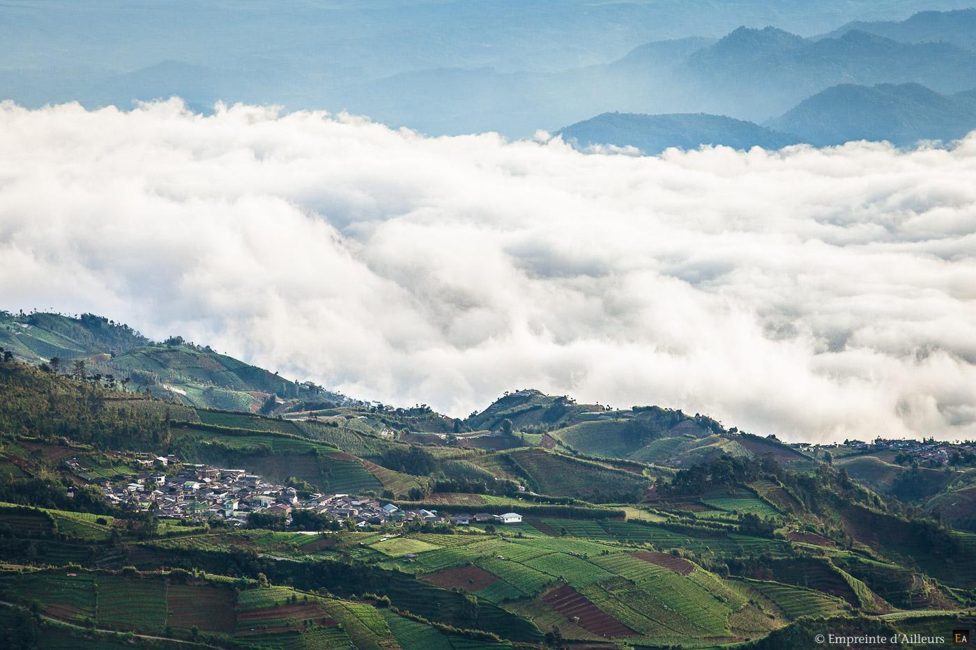 Village côtier sur mer de nuage